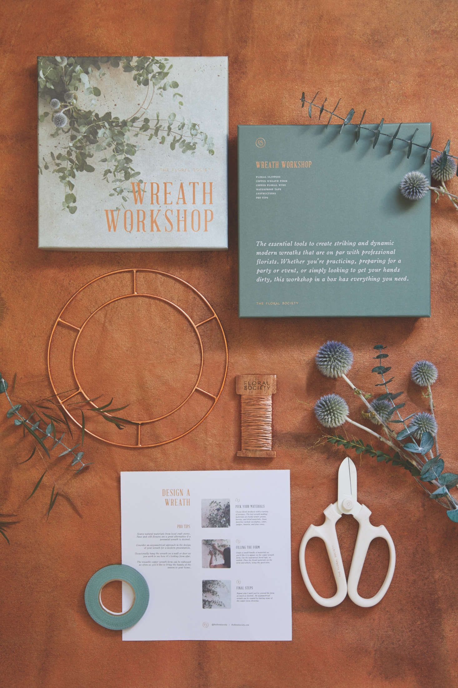 The Wreath Workshop, $86, contains, among other things, a copper wreath form, wire, and instructions for making inventive seasonal wreaths. Online wreath-making tutorials are also available to kit owners.