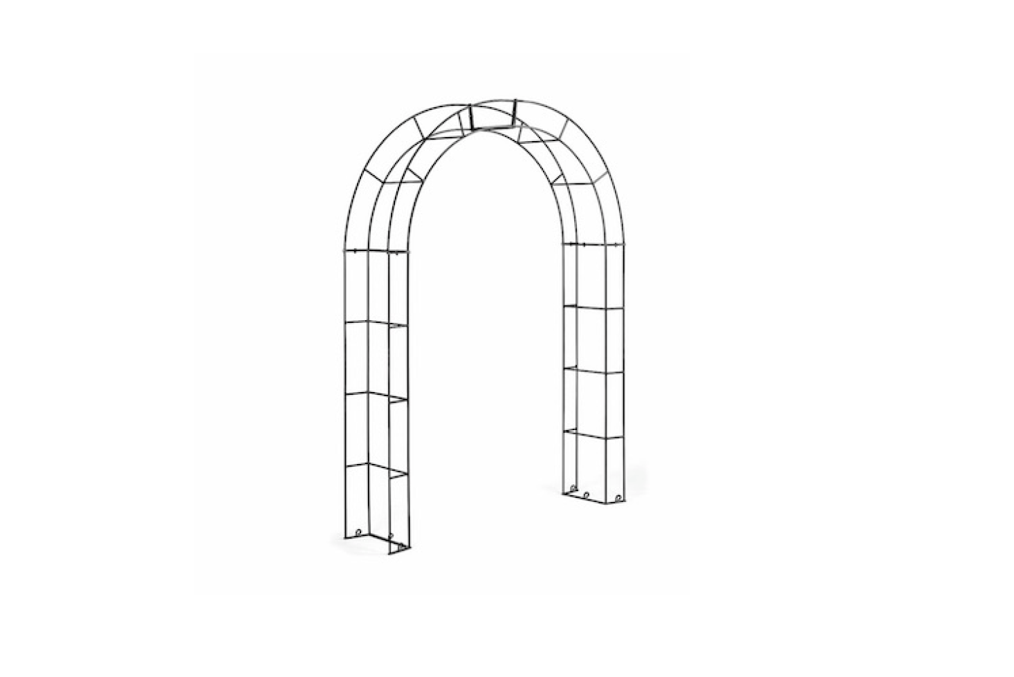 An archedRose Bow Arbor made of steel is 7.7 feet tall and is €325 at Manufactum.