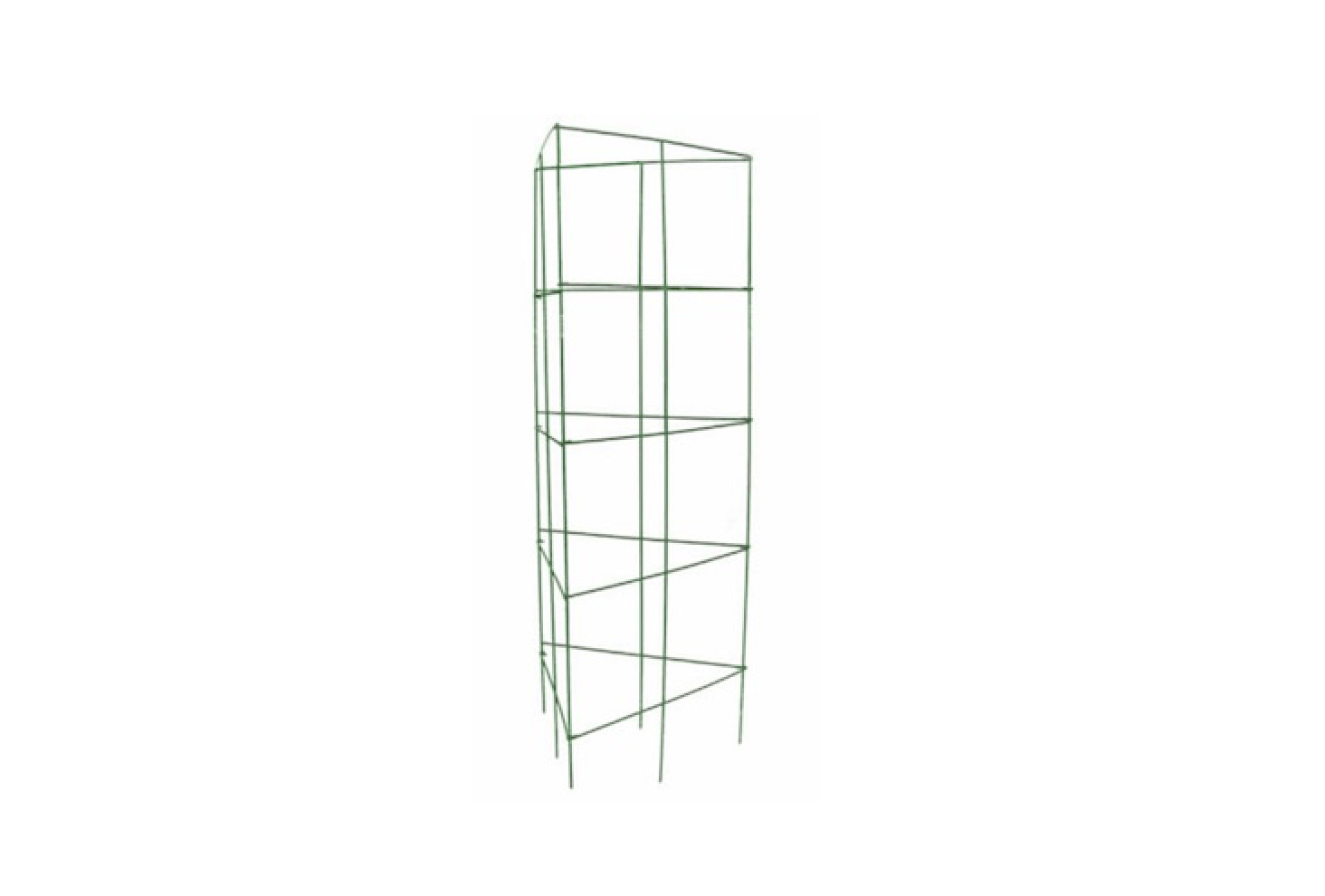 A 47-inch triangularTomato Cage made of vinyl-coated steel folds flat for storage; $6.48 at Lowe&#8