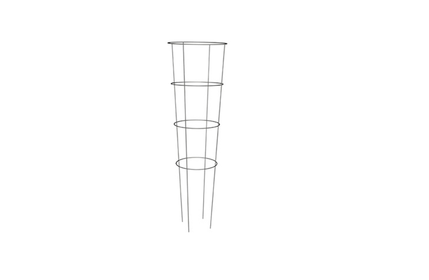 A 54-inch galvanized wire framePanacea Heavy-Duty Tomato Cage has a tapered silhouette, with a top ring measuring  inches in diameter; $4.49 from Southern States.