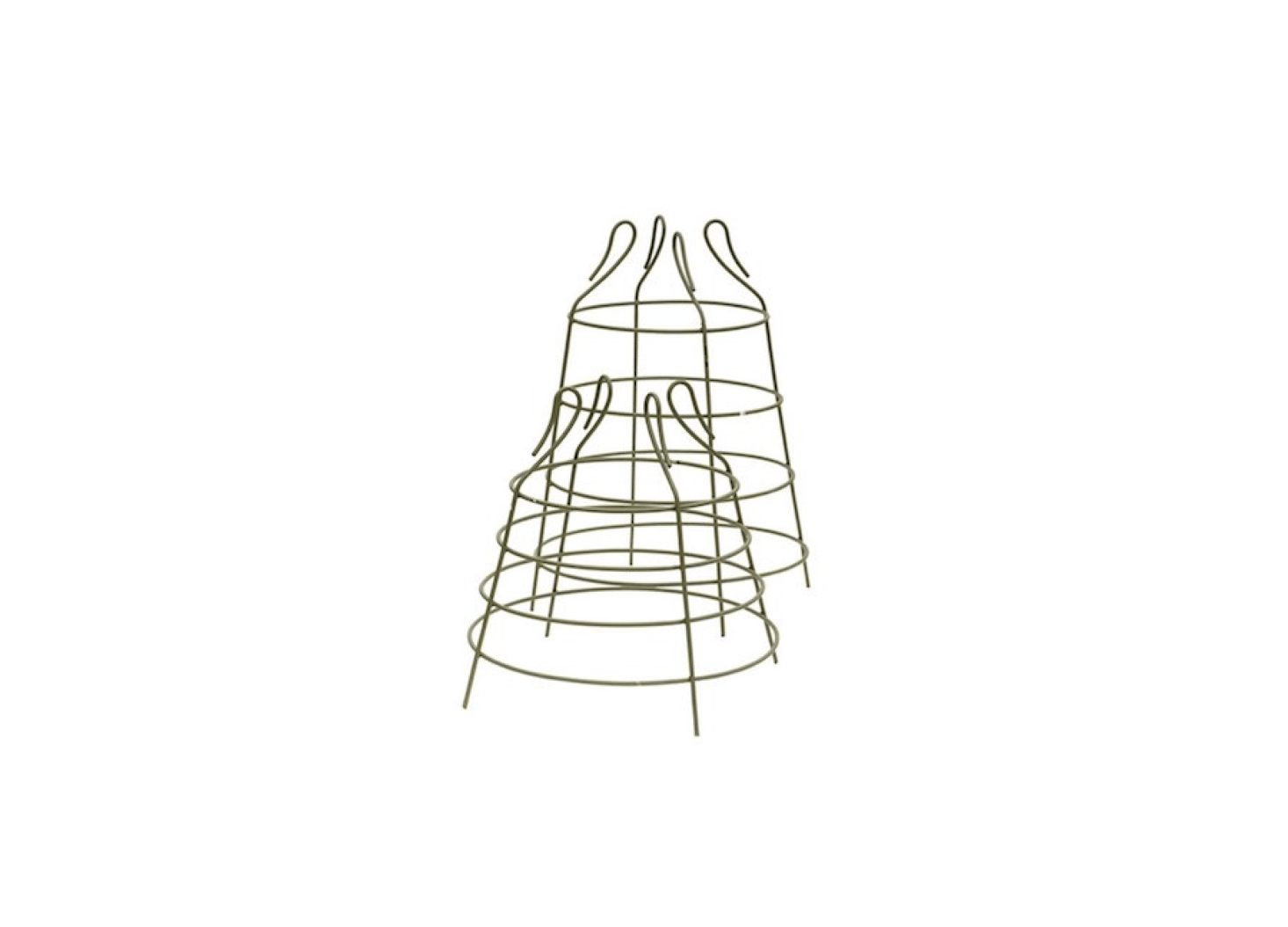 Suitable for use to support dwarf varieties of cherry tomatoes, green iron Cage Plant Supports come in two sizes (about .5 and  inches high, respectively); £3