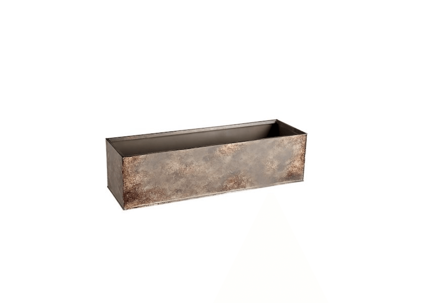 A .5-inch Girona Patina Rectangular Planter is made of galvanized steel with a nontoxic paint to simulate a Cor-ten steel finish. It is $.95 from CB