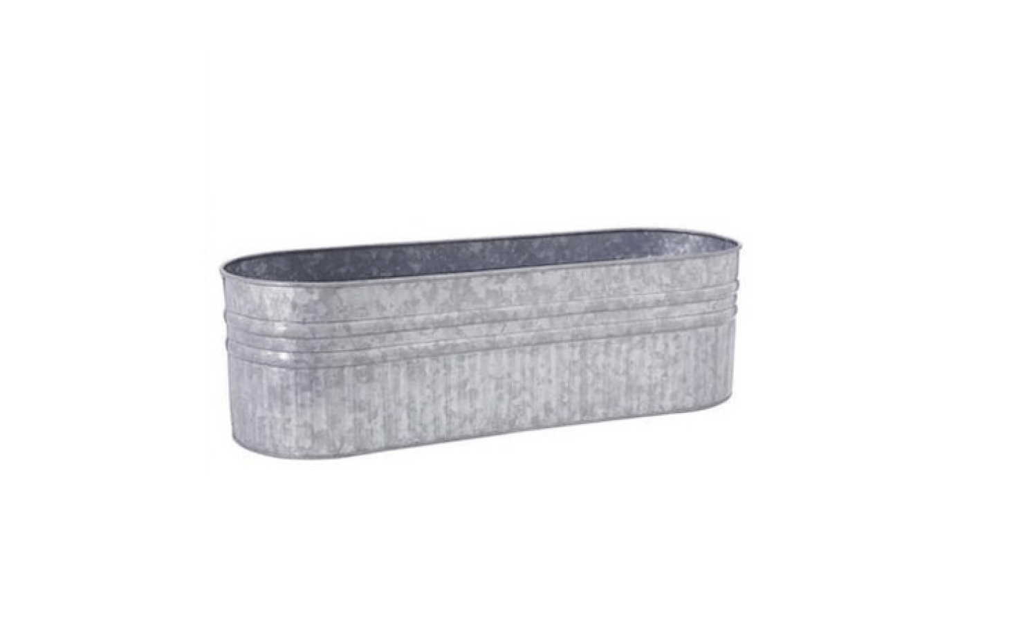 A 30-inch Galvanized Metal Planter Box with rounded corners is made of iron; $59.99 from Pottery Barn.