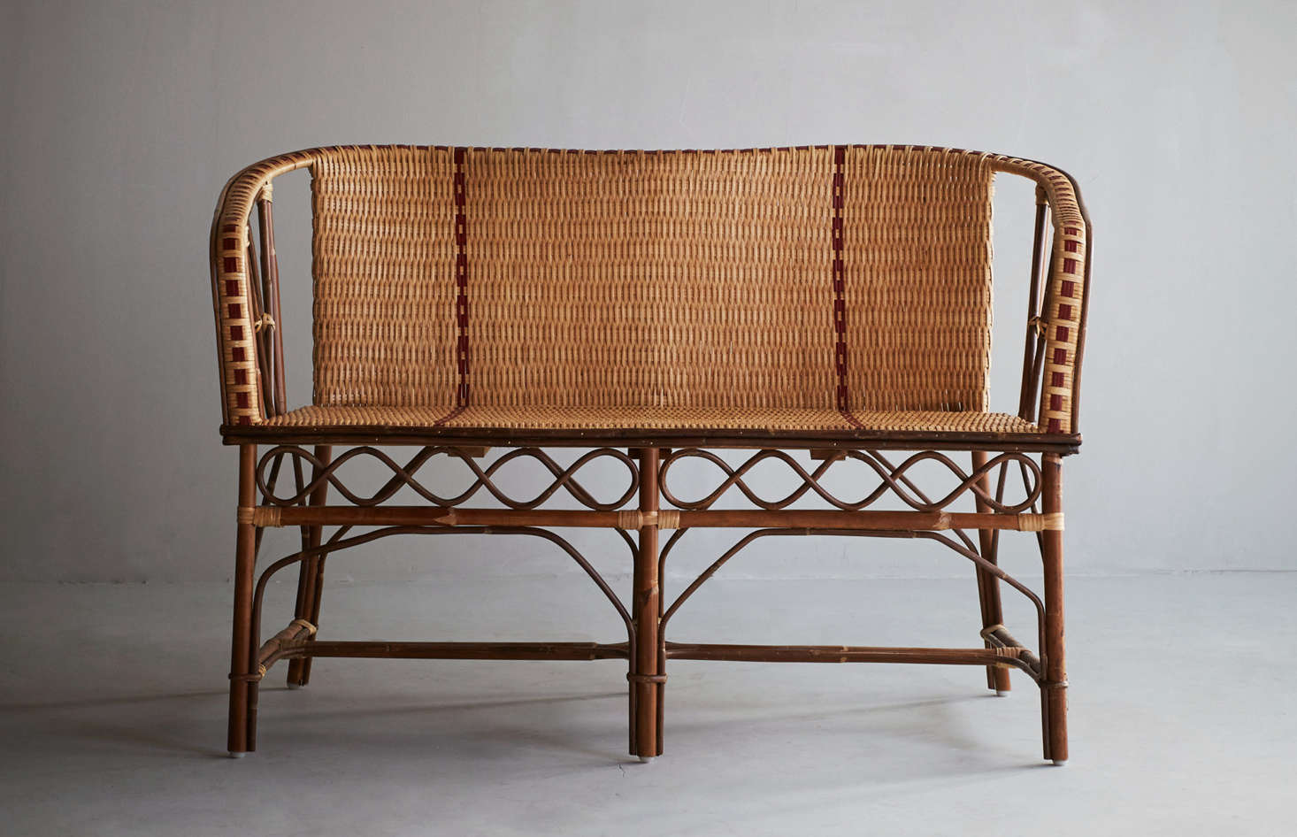 "The Banquette Bagatelle ""is a tribute to the Belle Epoque"" and features rattan best suited for indoor use or outdoor use on sunny days; SEK4,390 at Artilleriet."