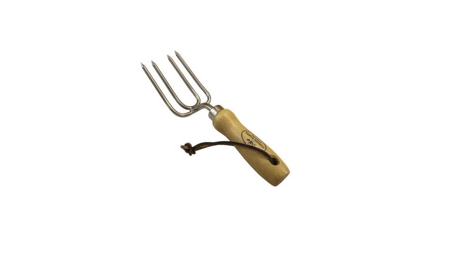 Made in the US by Garden Works, a Round Tine Hand Fork is src=