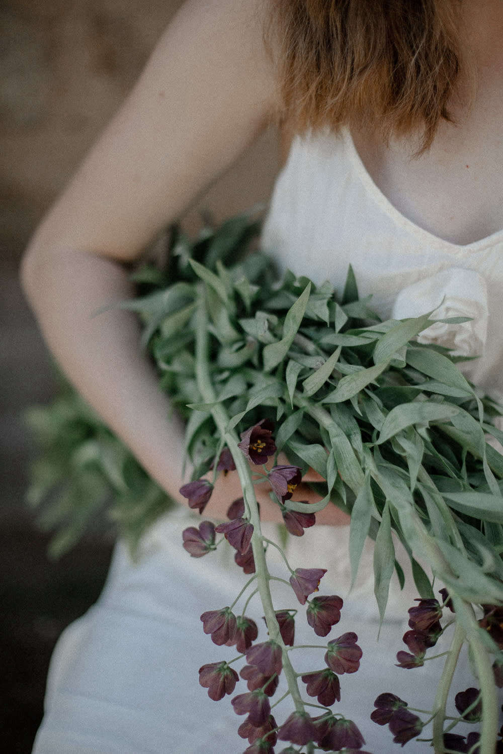 Step one: gathering armfuls of blooms.