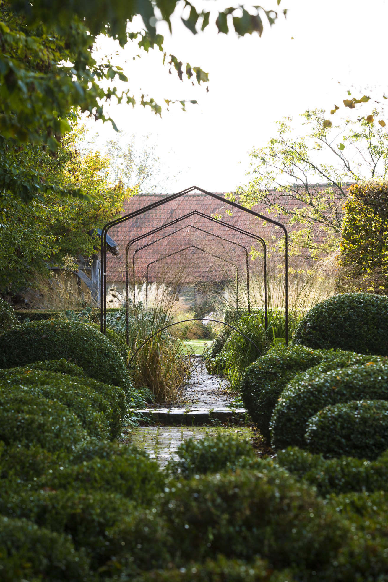 The formality of very straight walls of boxwood in the garden beyond gives way to rounder shapes, in a castle meets cottage atmosphere that is reminiscent of Sissinghurst, just across the English channel. The view through a series of hedge styles ends at a barn that is partially obscured by Stipa gigantea.