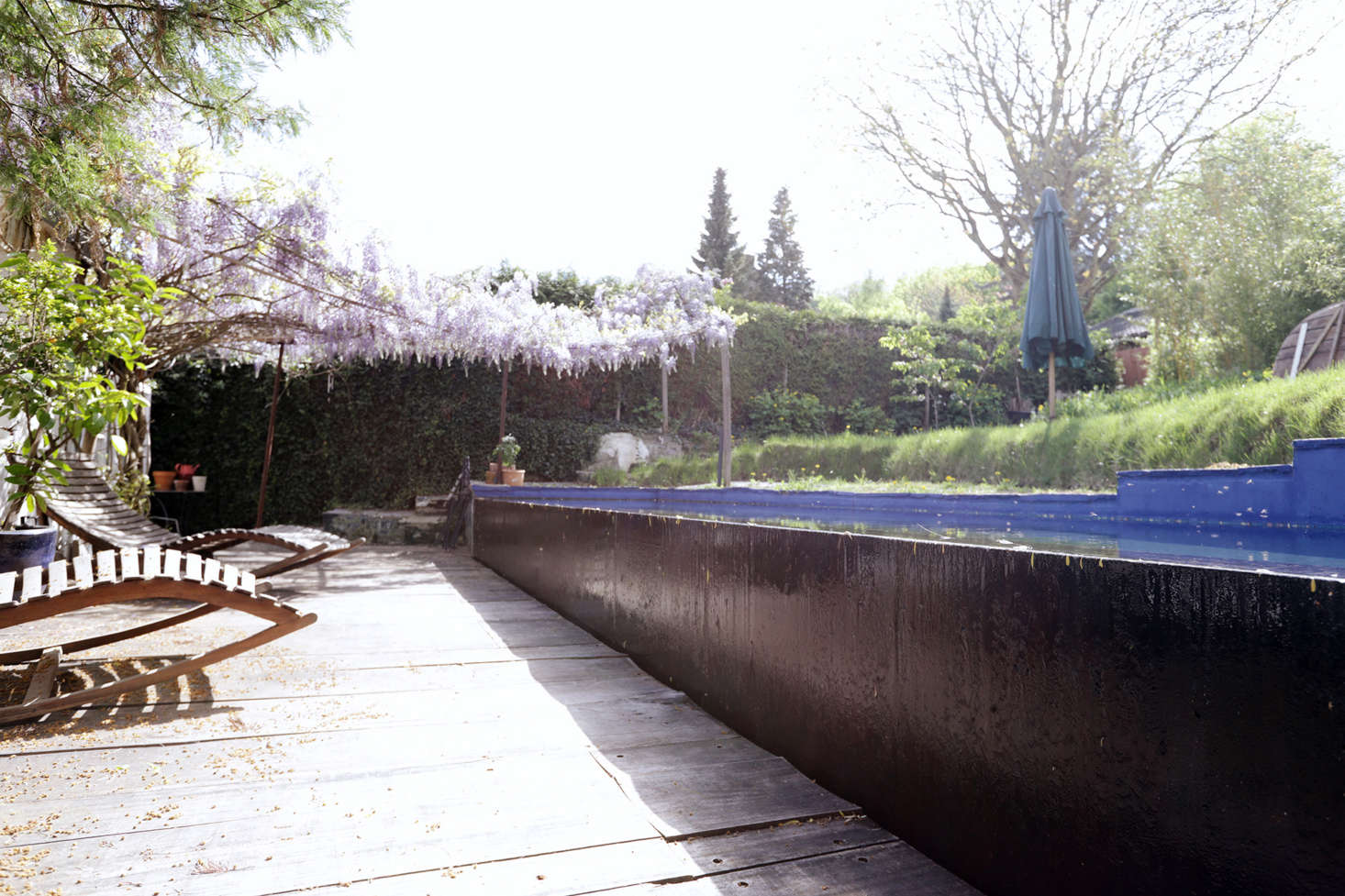"""The idea for a concrete pool came by an accident. """"During construction there was a storm and water flooded the garden,"""" he explains. """"Then the sun came out and there was this shimmering light throughout the entire house reflected from the water, so I figured we needed a pool."""""""