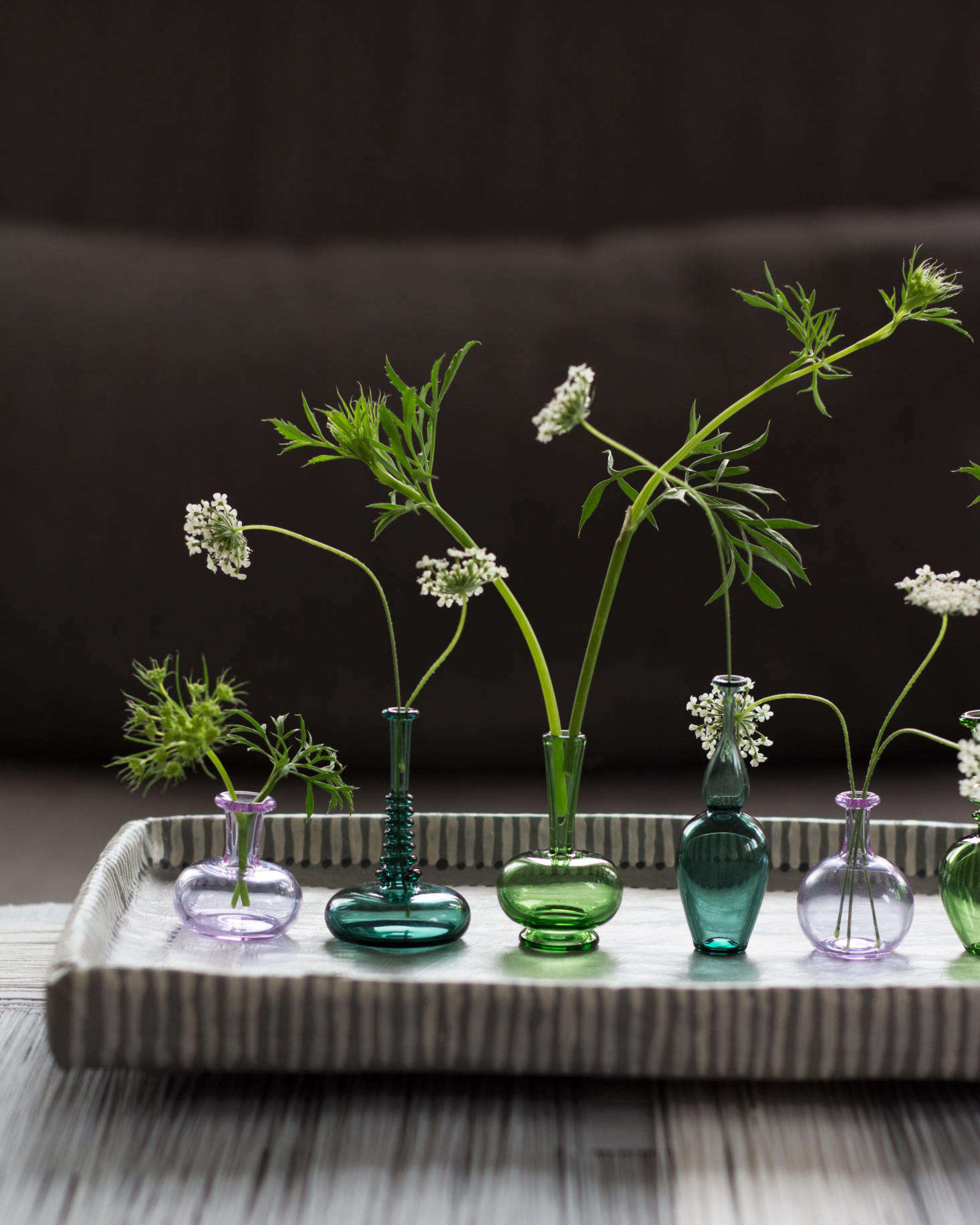 Handblown miniature vases from Kiva Ford each hold a stem of Queen Anne\u0027s lace. For & Tiny Bouquets: 8 Ideas for Floral Arrangements in Miniature Vases ...