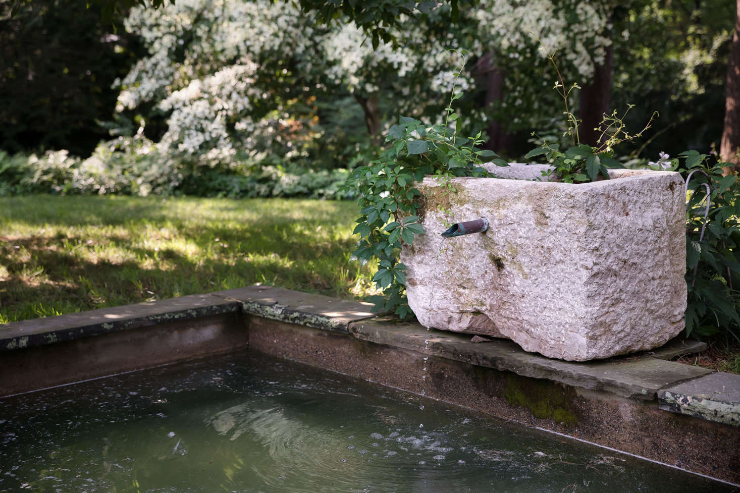 At one end of the pool, the original reflecting pool and fountain was restored and enhanced with an old limestone trough.