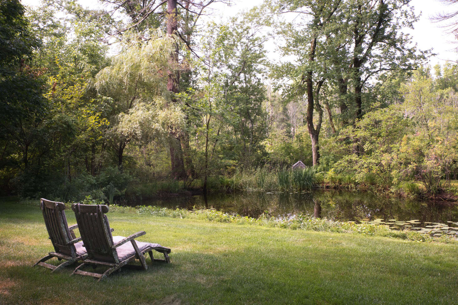 A paired of lichen-covered deck chairs provides a quiet spot to rest by the pond.