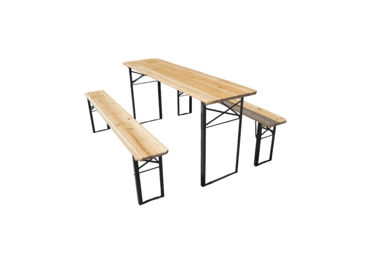 A Bier Garden Set includes an 86.6-inch-long table and two benches. It is available in nine finishes including natural with black legs as shown; $449 from Beer Garden Furniture.