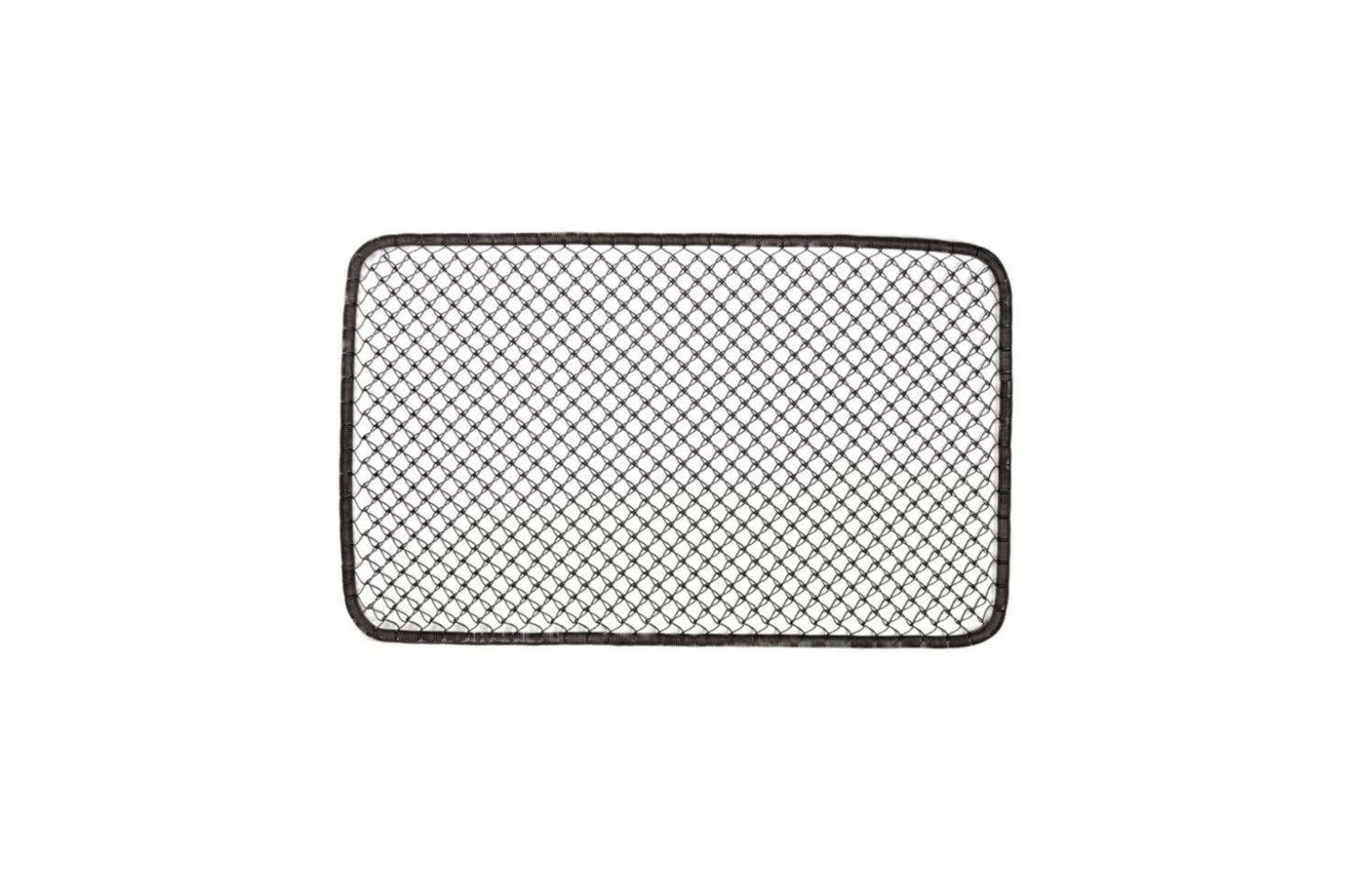The Galghard Wire Doormat from Gracie Oaks is made of coiled wire with a brown finis; $48.99 at Wayfair.