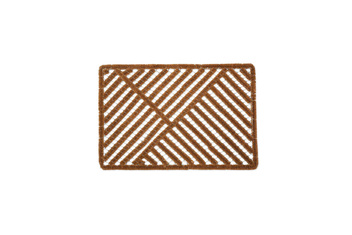 The Natural Coir Outdoor Doormat has coconut fiber embedded into the mesh frame; $.67 at Amazon.