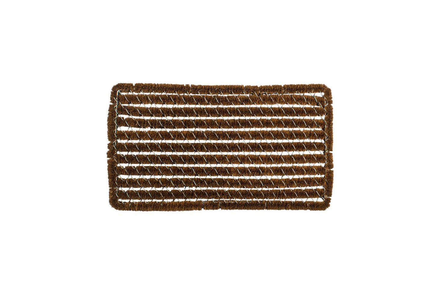 The Williams-Sonoma Rectangle Stripes Wire Brush Doormat is $69.95 for the regular size; it also comes in a long size for $89.95 at Williams-Sonoma.