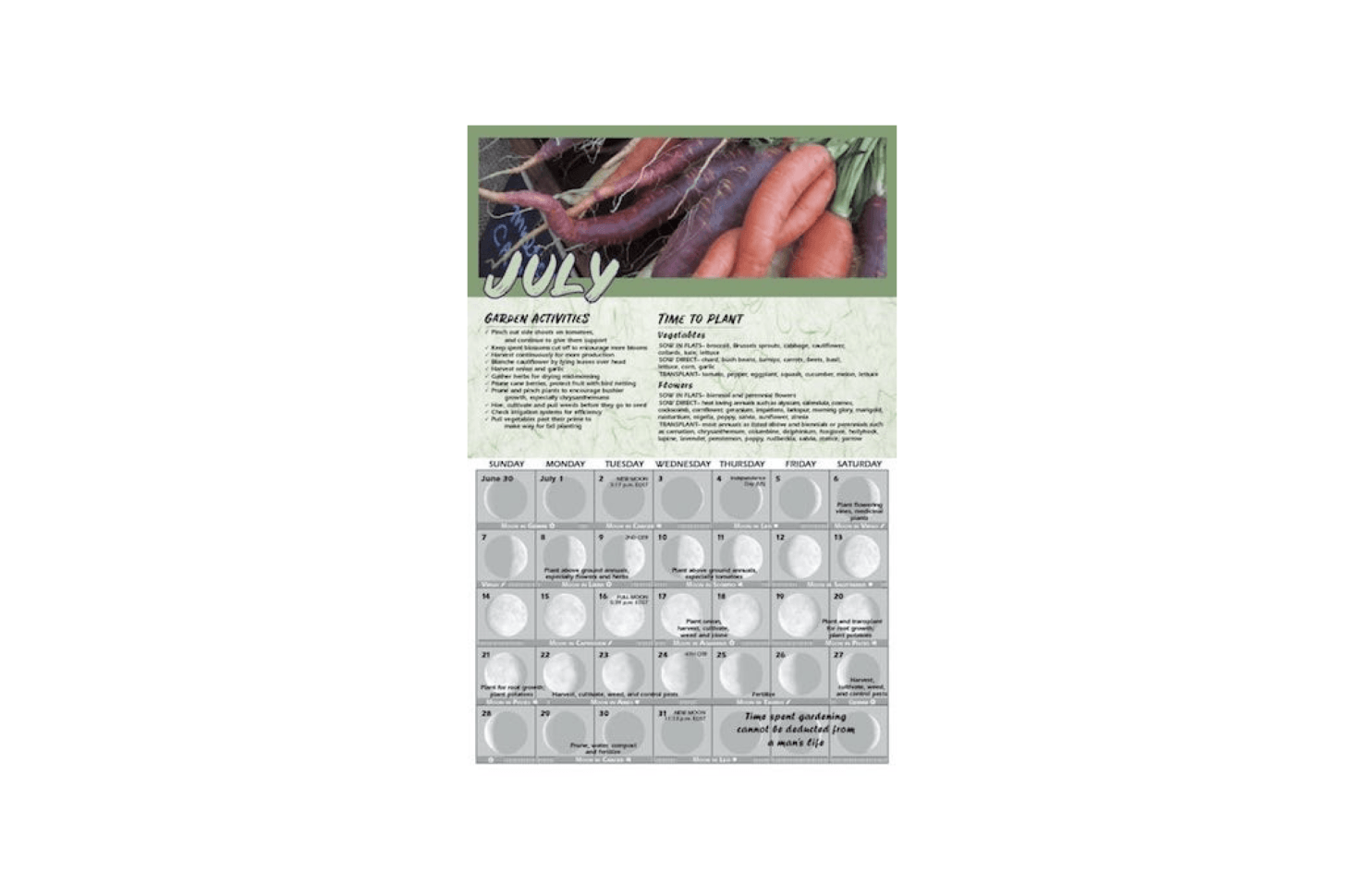 A month-by-month Gardening by the Moon  calendar planting guide based on lunar cycles tells you &#8