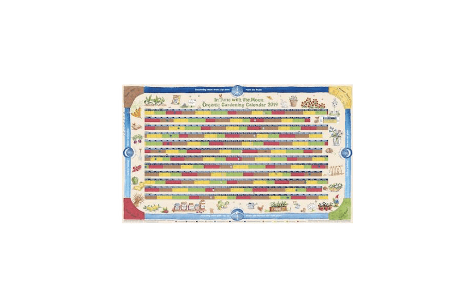 From Lunar Organics, a Moon Gardening Calendar  is printed on recycled paper and is color-coded to make it easy to identify moon phases, moon paths, moon constellations, and favored plant aspects; from£7.95to £8.95 (with an accompanying booklet).
