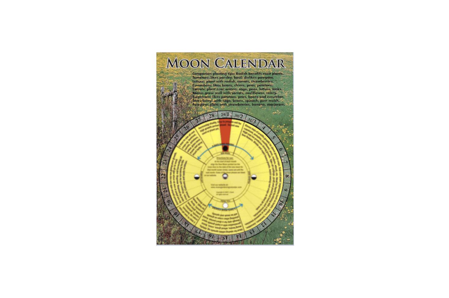 A laminated Moon Gardening Calendar has a central dial that &#8
