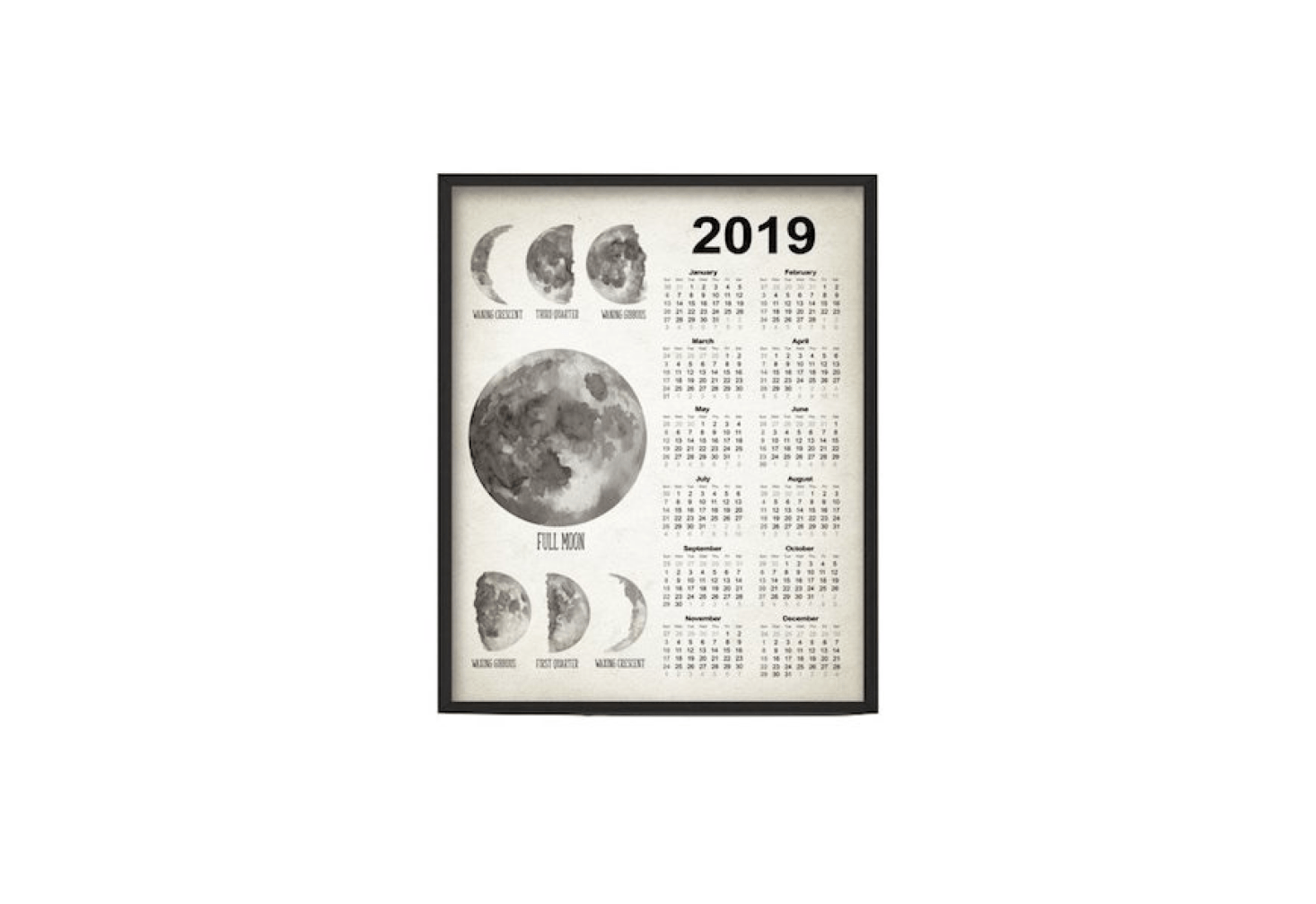 A watercolor painting, aMoon Phases Calendar  is available in four sizes from $.48 to $30. depending size at Quantum Prints via Etsy.