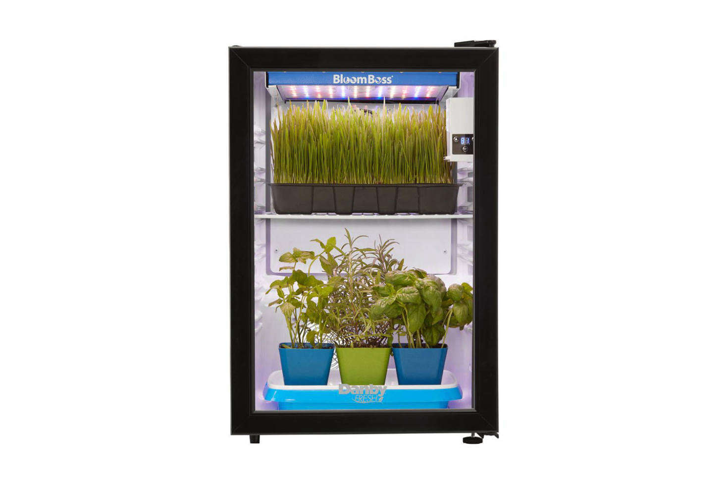For a more robust herb growing operation, the Danby Herb Grower with -Watt LED BloomBoss Lighting is the size of a mini fridge that includes a grow light, fan-assisted air circulation, wire shelves, and a digital timer for light cycles; $399 at The Home Depot.