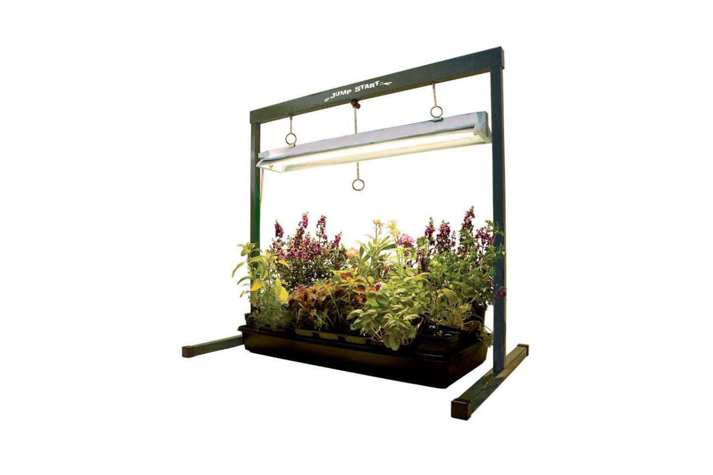 The Hydrofarm Hydroponic Grow Light is designed for germinating seeds and then, as plants grow, the upper bar and light extends to keep three to six inches away from the plant canopy. It&#8