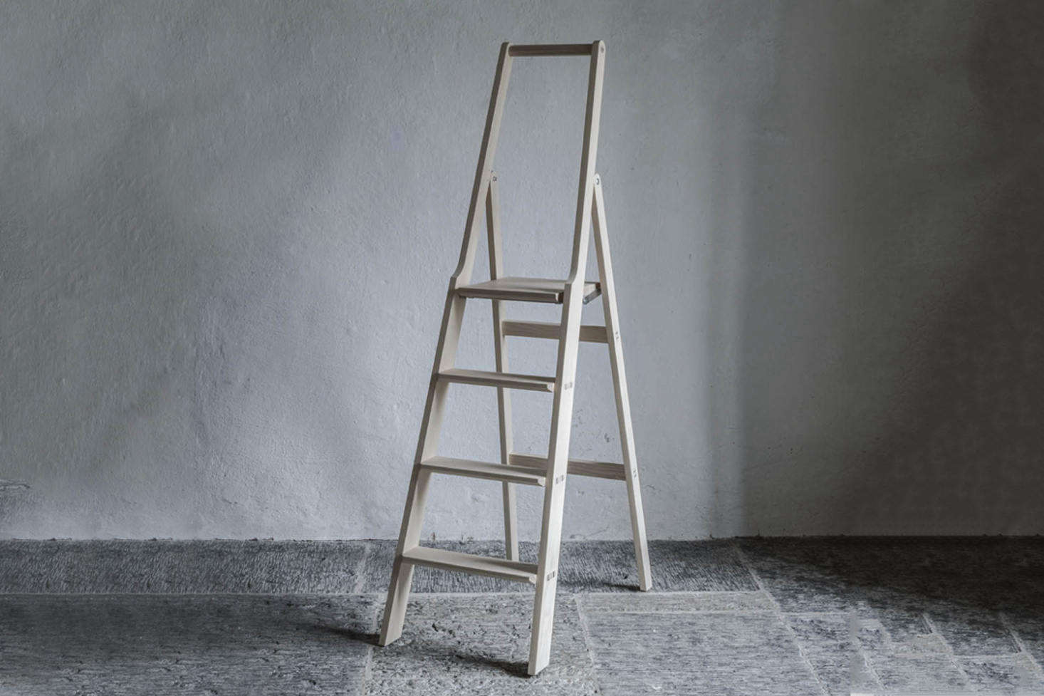 For the true aesthete, the Step Up Ladderfrom Olby Design in Sweden is really designed for indoor use alone and is made to be hung on the wall when not in use. Contact Olby Design for price and ordering information. For similar, albeit smaller, wood step ladders see our post Easy Pieces: Step Stools and Ladders.