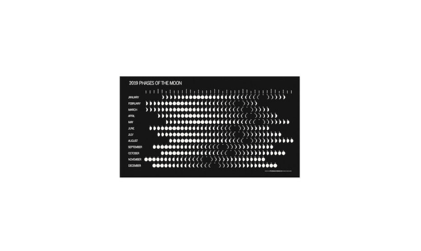 Printed in the US, a Phases of the Moon Calendar  is $8.95 from MoMA Design Store.
