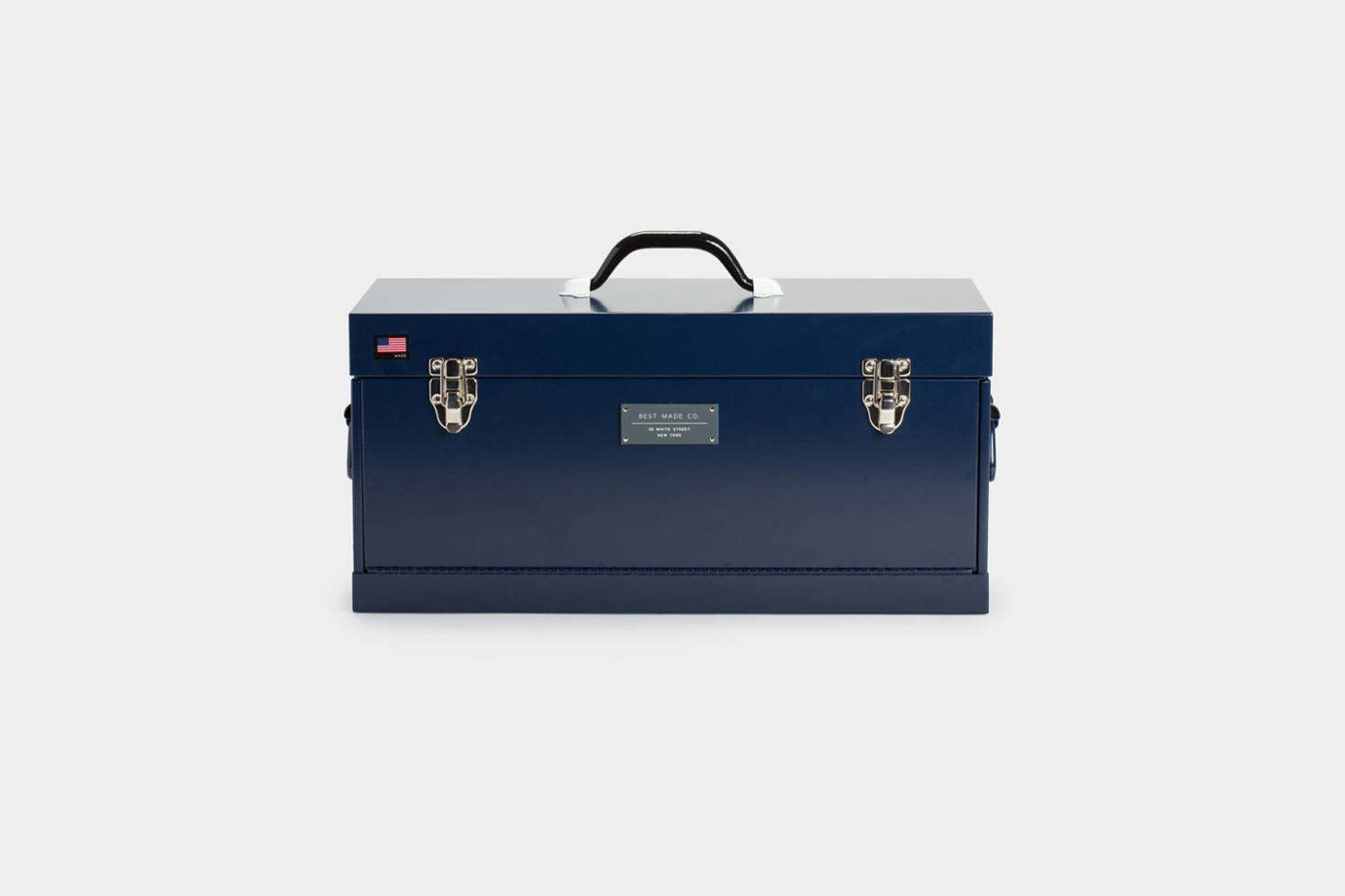 The Best Made Co. Front Loading Toolbox in red, matte black, or navy (shown) is a larger version of the -inch Best Made toolbox featured above. This one is $8 at Best Made Co.