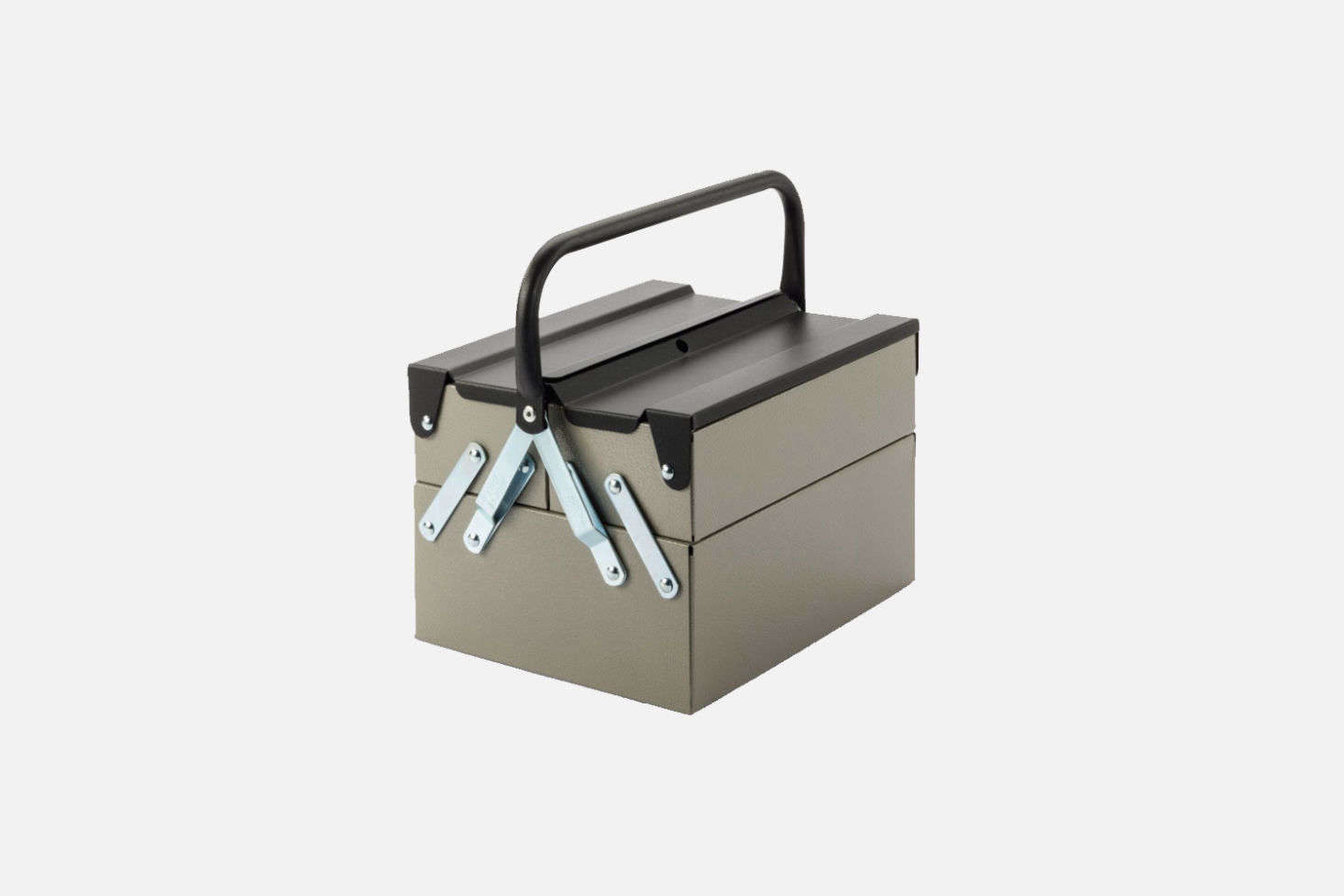 The Tool and Utensil Box Plus is available in Stone Grey/Anthracite (shown) or Light Grey/Fire Red is made of high-grade industrial quality with removable plastic insert trays; €43 at Manufactum.
