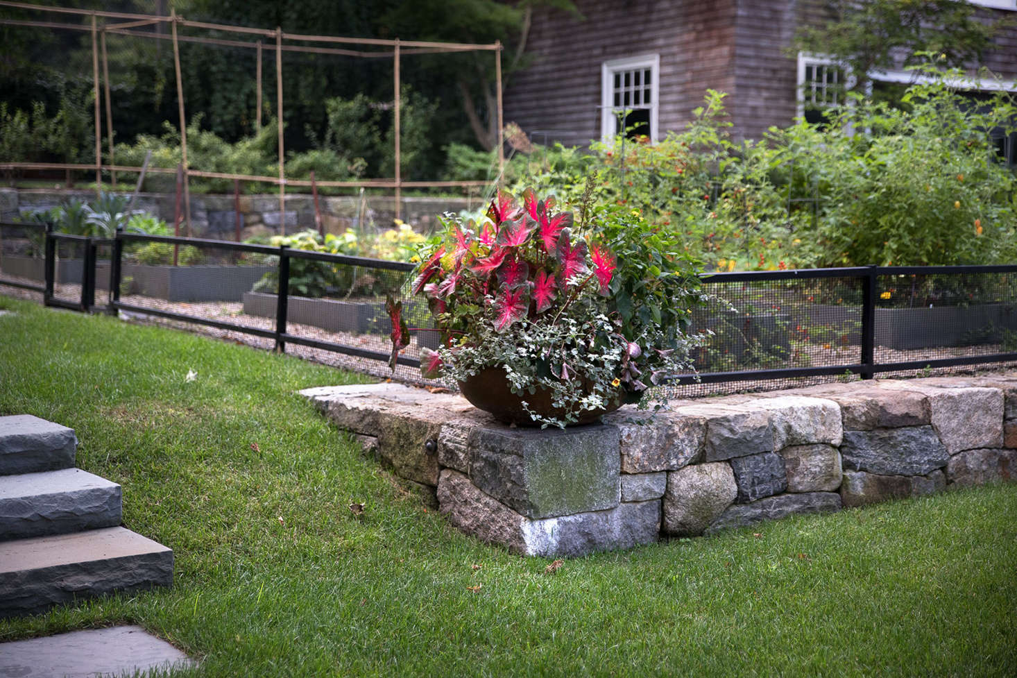 Though most of the property is planted with natives and perennials, a planter provides a space for some colorful annuals.