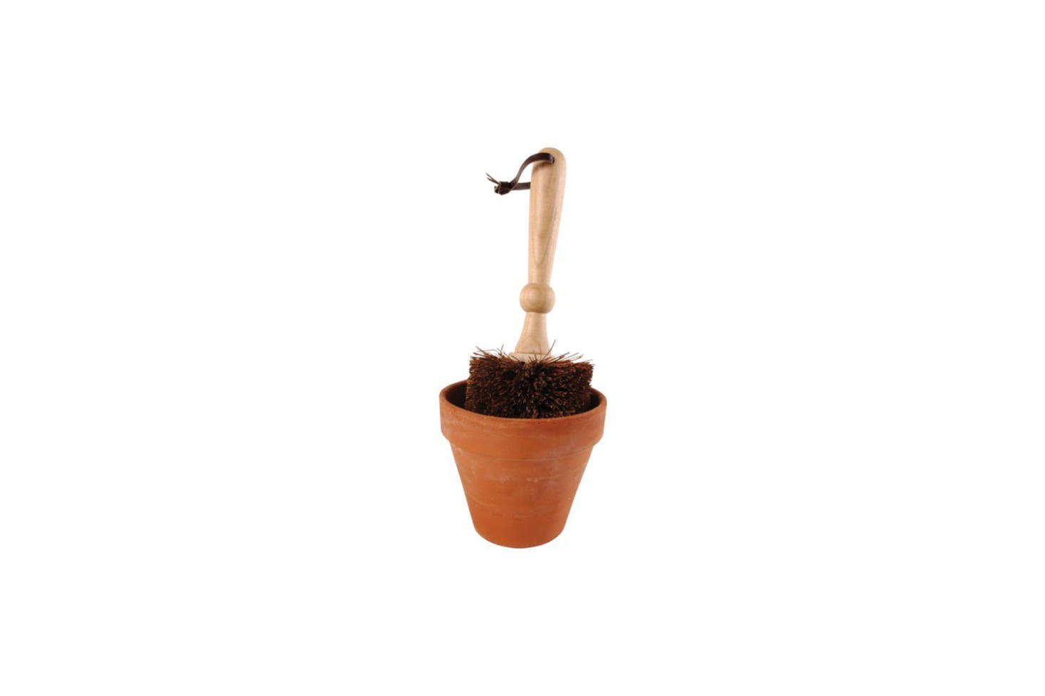 The Esschert Design Flower Pot Bristle Brush is good for dusting off the interior of old pots and comes with a little leather tie for hanging on a rail; $15.99 on Amazon Prime. For more see our postGarden Shed Essentials: Flowerpot Brushes.