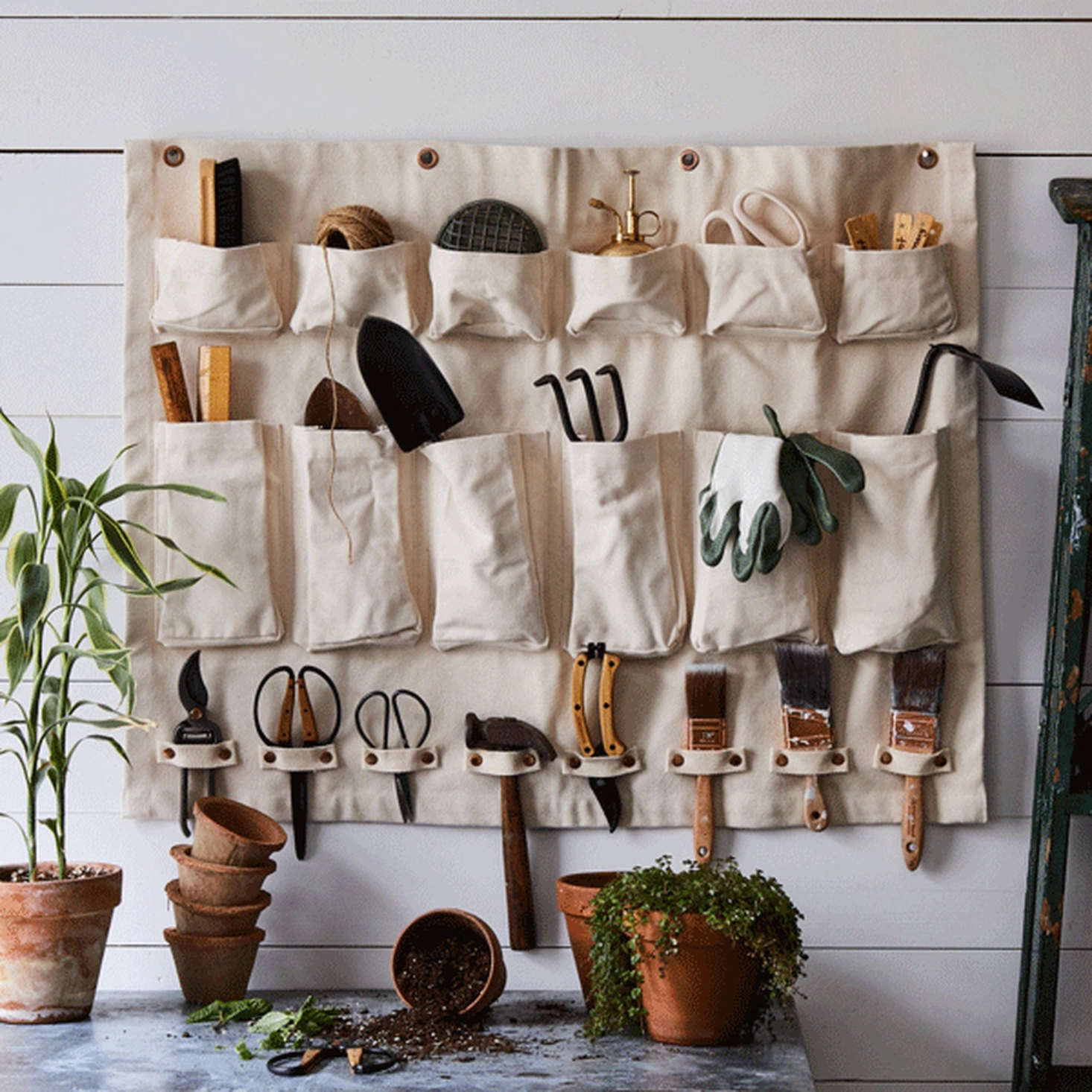 Floral Society's heavy-gauge cotton Multi-Purpose Canvas Wall Organizer features 20 compartments and measures 36 by 28 inches; $112 on Food52. (It's also sold on the Floral Society website.)