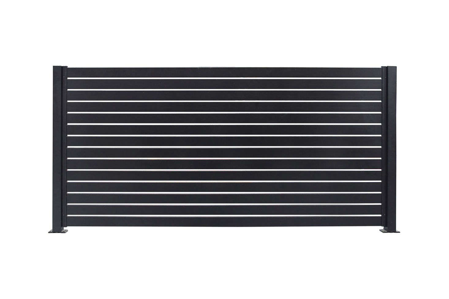 The Quick Screen Slat Fencing in black is made of easy-to-install painted aluminum; $370.99 at Walmart.