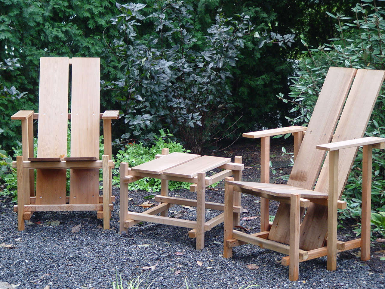 Horticulturalist Dan Benarcik designed his own version after becoming obsessed with the chairs at Wave Hill. In addition to the chair, he also designed a coordinating stool (pictured), table, and bench, the plans for which are all available on his site. In addition, he sells the Garden Chair Kit, which comes with all the materials you need to build it yourself; $