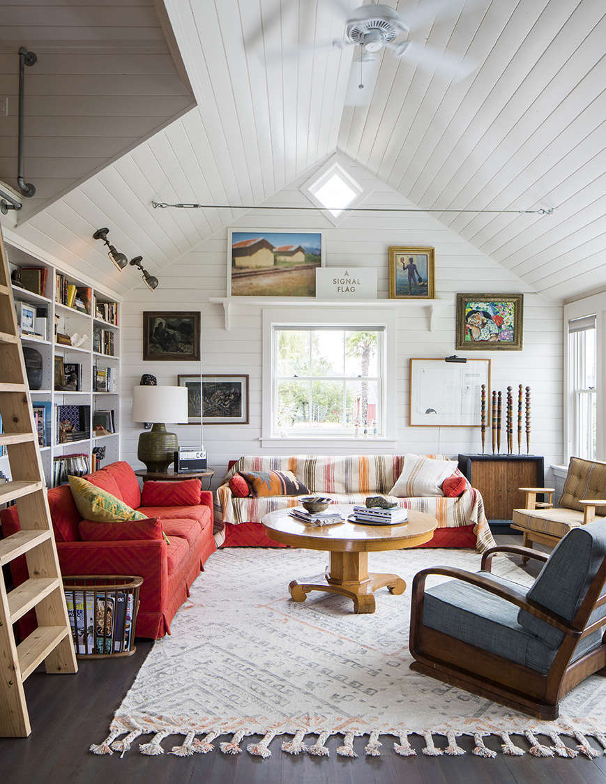A couple's cottage on a tiny island not far from Seattle shows what happens when you're not afraid to decorate with color. Photography by Thomas J. Story, courtesy of Hoedemaker Pfeiffer, from Shipshape and Refreshed: A Considered Renovation of an 1898 Cabin on Maury Island.
