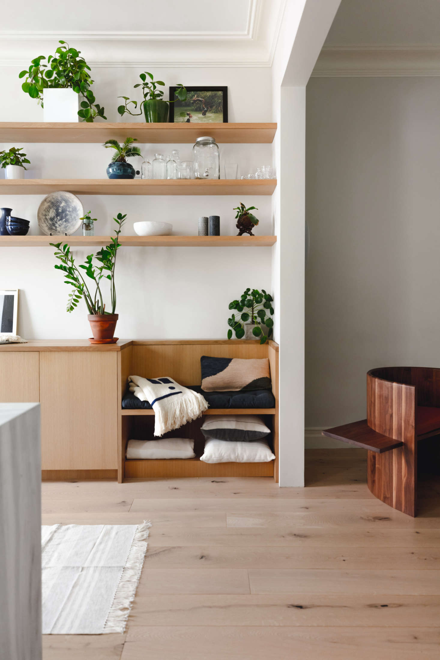 """Photograph by Hagan Hinshaw of Blurry Hinge, courtesy of Shapeless Studio, from Kitchen of the Week: A Brooklyn Kitchen Designed Around the Keywords """"Social"""" and """"Minimal but Warm,"""""""