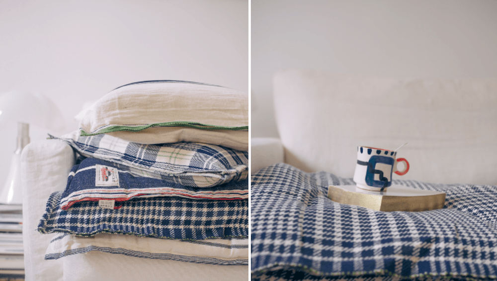 铺上松软的枕头、枕头和铺盖,让你看起来更精致。朱莉在莫伊斯蒙特发现了这些柔软元素的一个很好的来源:通过印度的法国纺织品。